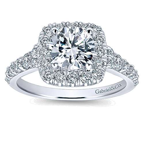 14k White Gold Graduating Pave Diamond Round Halo Engagement Ring angle 5