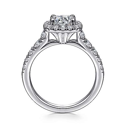 14k White Gold Graduating Pave and Round Diamond Halo Engagement Ring angle 2