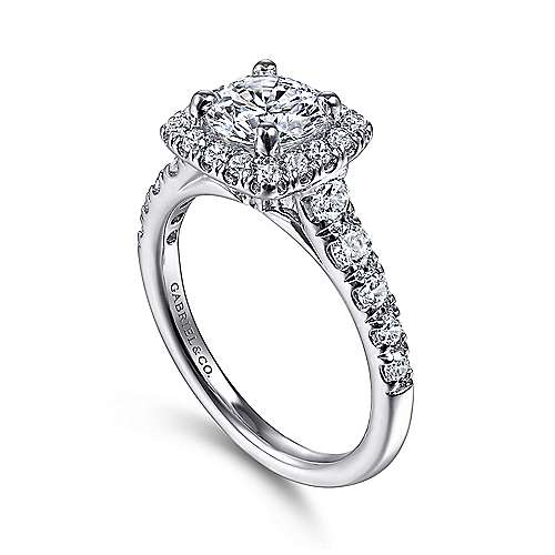 14k White Gold Graduating Pave and Round Diamond Halo Engagement Ring angle 3