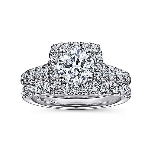 14k White Gold Graduating Pave and Round Diamond Halo Engagement Ring angle 4