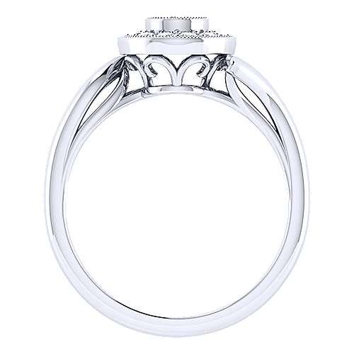 14k White Gold Halo Engagement Ring angle 2