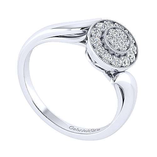 14k White Gold Halo Engagement Ring angle 3