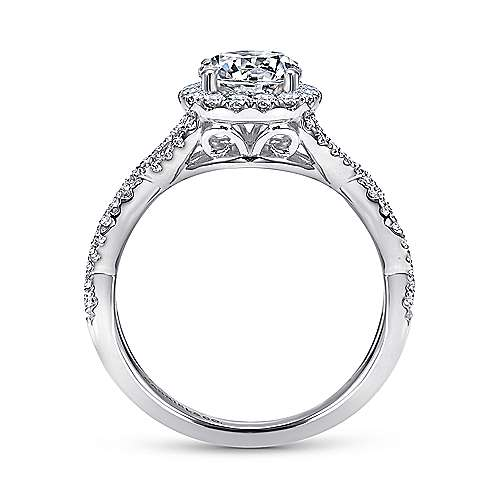 14k White Gold Halo and Twisted Diamond Pave Shank Engagement Ring angle 2