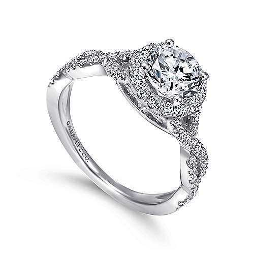 14k White Gold Halo and Twisted Diamond Pave Shank Engagement Ring angle 3