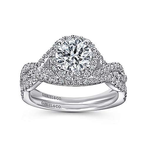 14k White Gold Halo and Twisted Diamond Pave Shank Engagement Ring angle 4