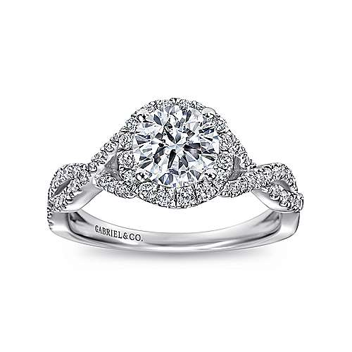 14k White Gold Halo and Twisted Diamond Pave Shank Engagement Ring angle 5