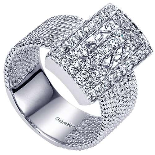 14k White Gold Hampton Classic Ladies' Ring angle 3