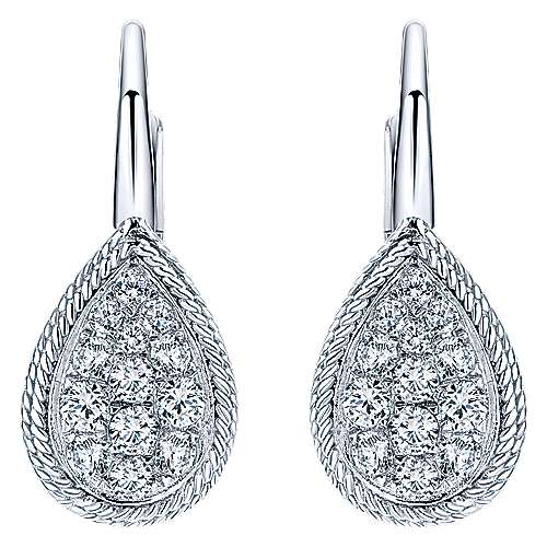 14k White Gold Hampton Drop Earrings angle 1