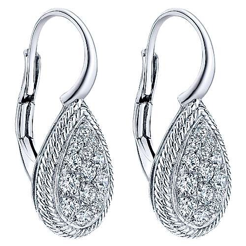 14k White Gold Hampton Drop Earrings angle 2