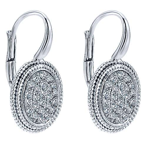 14k White Gold Hampton Drop Earrings angle 2