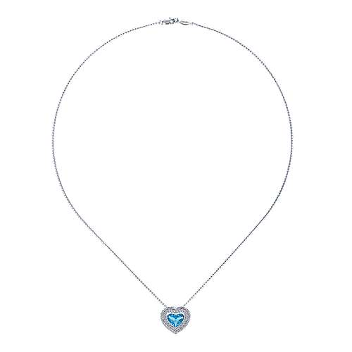 14k White Gold Hampton Heart Necklace angle 2