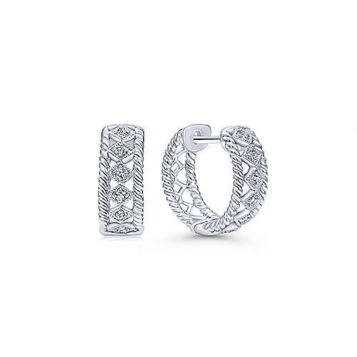 14k White Gold Hampton Huggie Earrings