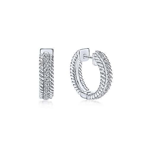 14k White Gold Hampton Huggie Earrings angle 1