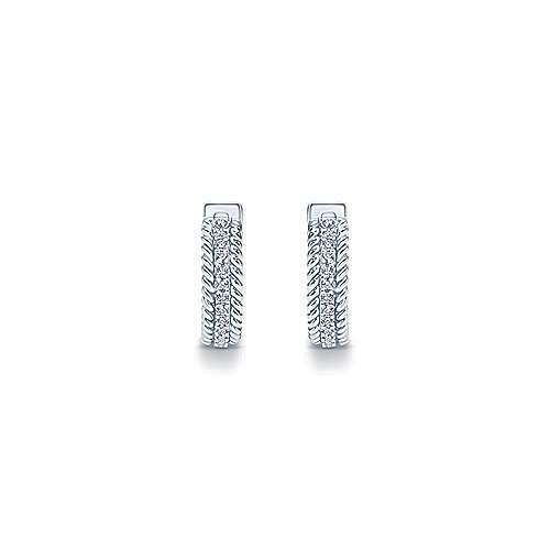 14k White Gold Hampton Huggie Earrings angle 3