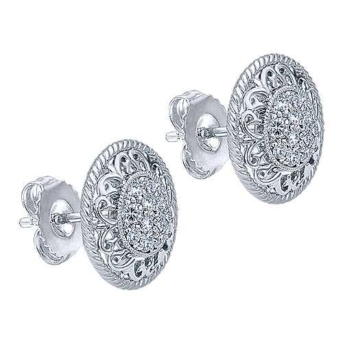 14k White Gold Hampton Stud Earrings angle 2
