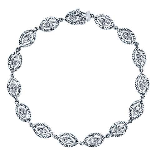 14k White Gold Hampton Tennis Bracelet angle 1