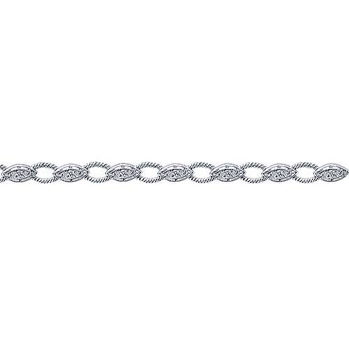 14k White Gold Hampton Tennis Bracelet angle 2