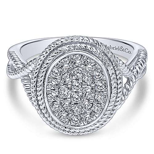 Gabriel - 14k White Gold Hampton Twisted Ladies' Ring