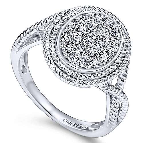 14k White Gold Hampton Twisted Ladies' Ring angle 3
