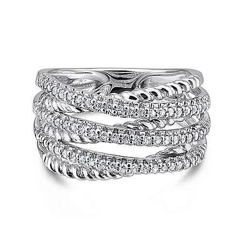 Gabriel - 14k White Gold Hampton Wide Band Ladies' Ring