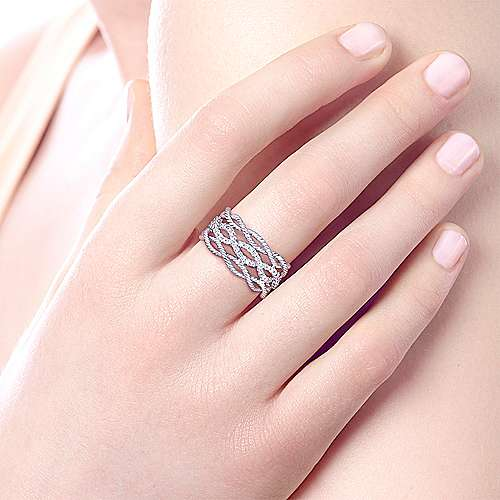 14k White Gold Hampton Wide Band Ladies' Ring angle 5