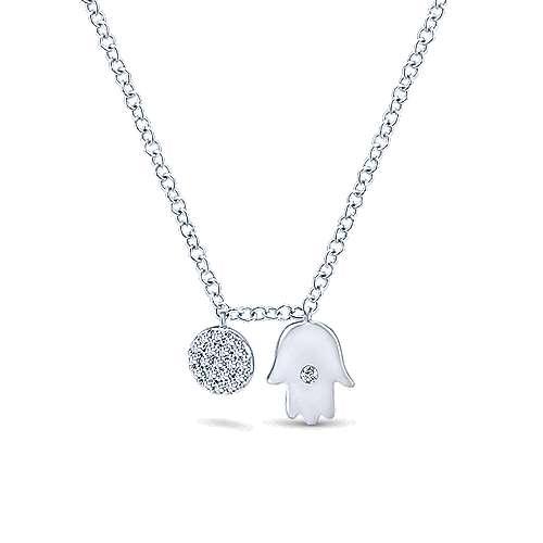 14k White Gold Hamsa & Diamond Disc Necklace