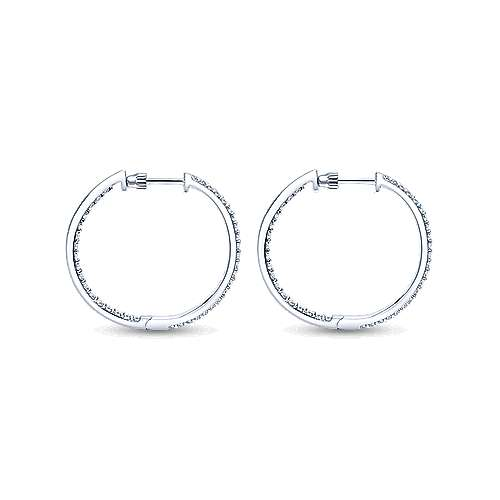 14k White Gold Hoops Classic Hoop Earrings angle 2