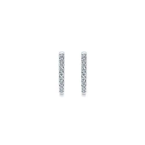 14k White Gold Hoops Classic Hoop Earrings angle 3
