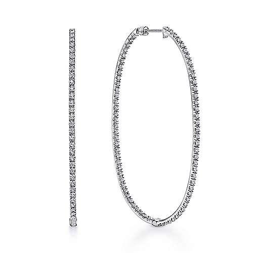 14k White Gold Hoops Classic Hoop Earrings angle 1