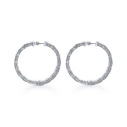 14k White Gold Hoops Classic Hoop Earrings angle 2