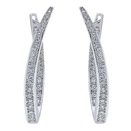 14k White Gold Hoops Drop Earrings angle 3
