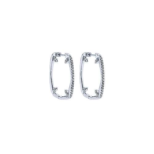 14k White Gold Hoops Intricate Hoop Earrings angle 1