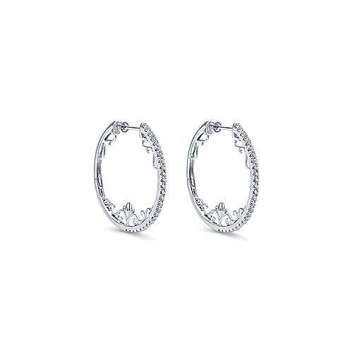 Gabriel - 14k White Gold Hoops Intricate Hoop Earrings