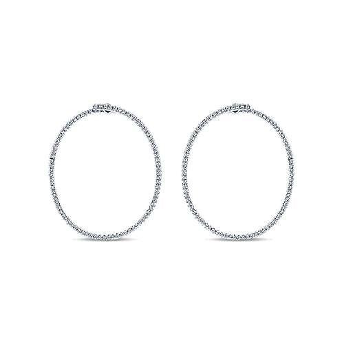 Gabriel - 14k White Gold Hoops Intricate Hoop Earrings