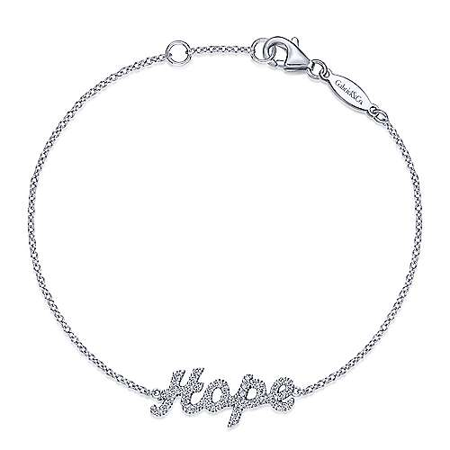 14k White Gold Hope Chain Bracelet