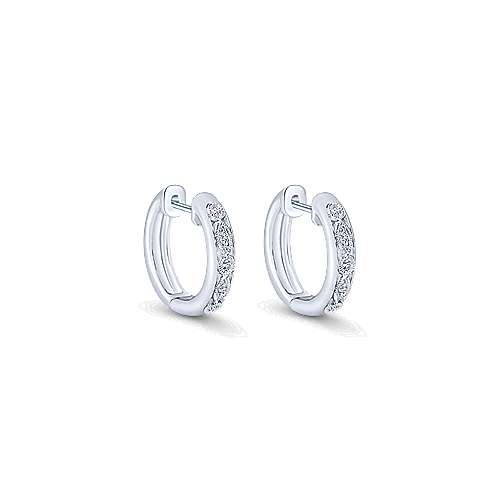 14k White Gold Huggies Drop Earrings angle 1
