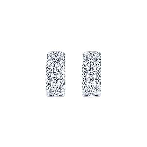 14k White Gold Huggies Huggie Earrings angle 3