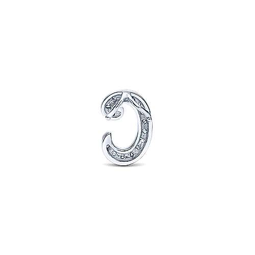 14k White Gold Initial Pendant angle 2