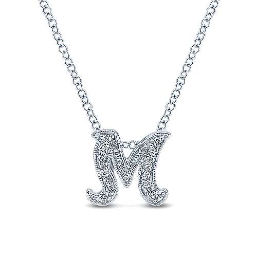 14k White Gold Initial Pendant angle 3