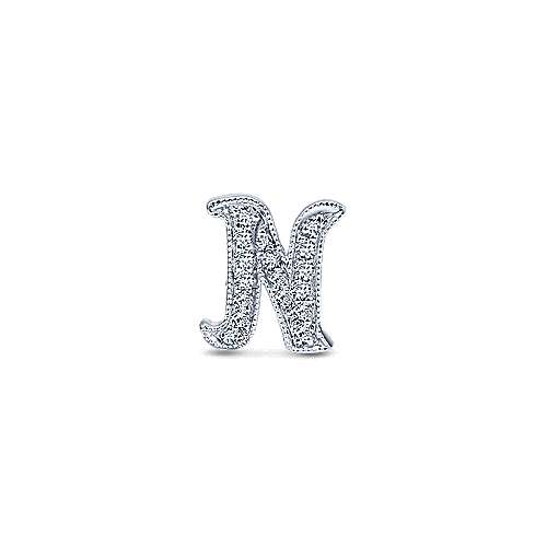 14k White Gold Initial Pendant angle 1