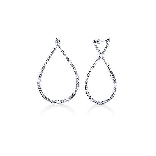 14k White Gold Intricate Pear Shaped Diamond Hoop Earrings