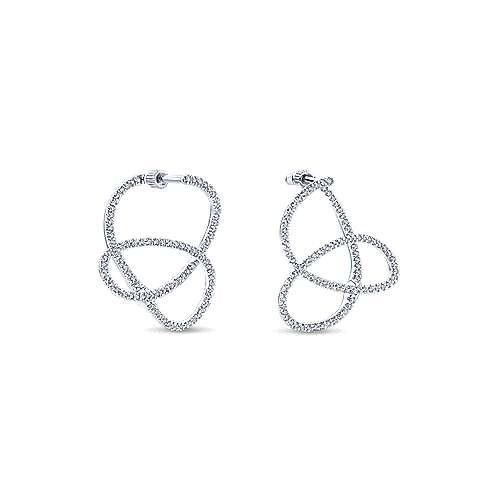 14k White Gold Intricate Twisted Diamond Hoop Earrings angle 3