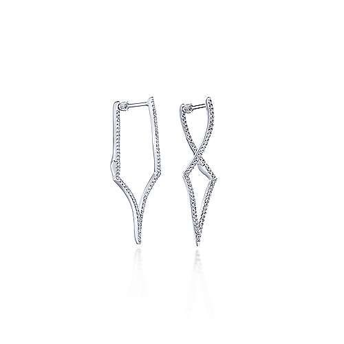 14k White Gold Intricate Twisted Diamond Silhouette Hoop Earrings angle 1