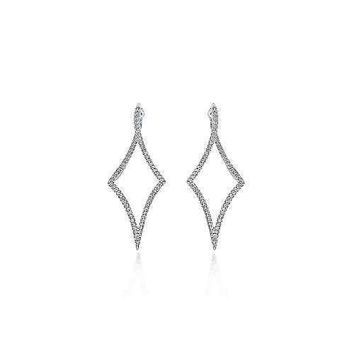 14k White Gold Intricate Twisted Diamond Silhouette Hoop Earrings angle 3