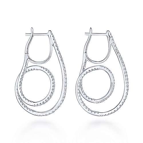 14k White Gold Intricate Twisted Loop Diamond Hoop Earrings angle 2