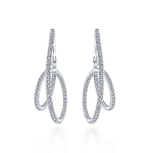 14k White Gold Intricate Twisted Loop Diamond Hoop Earrings angle 3