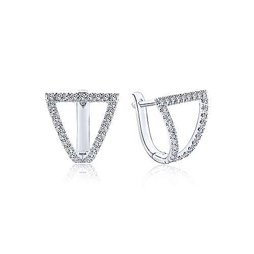 14k White Gold Inverted Triangle Diamond Huggie Earrings