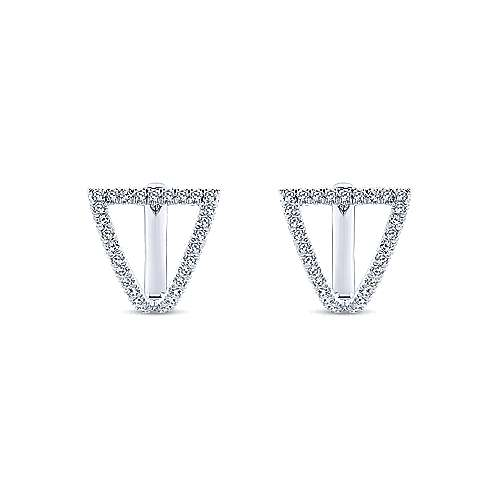14k White Gold Inverted Triangle Diamond Huggie Earrings angle 3