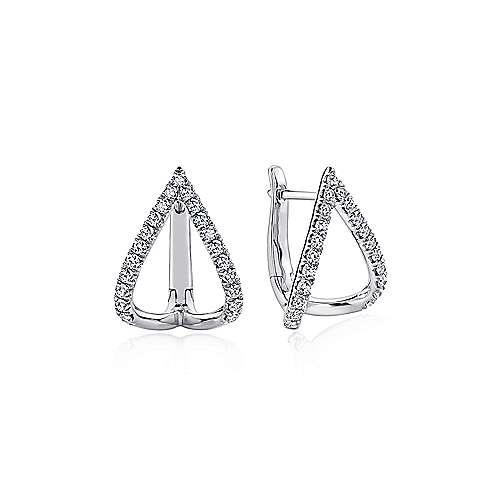 14k White Gold Inverted V Diamond Huggie Earrings