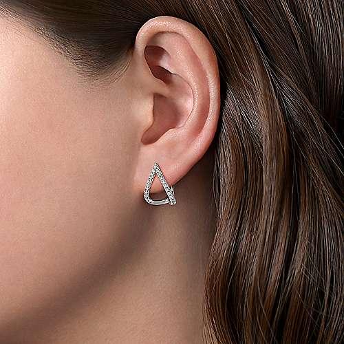14k White Gold Inverted V Diamond Huggie Earrings angle 2